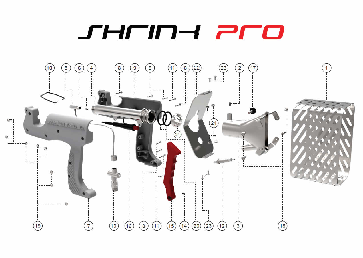 shrinkpro US Heat Shrink Guns, SP Revolution Exploded Diagram